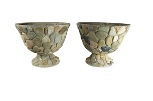 Pair of Composite and Pebble Garden Pots