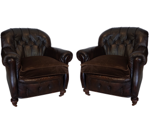Pair of Leather Buttoned Club Chairs