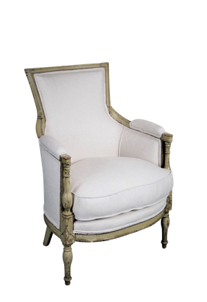 Upholstered Empire Fauteuil in Original Paint