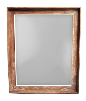 Large Pine Framed Mirror with Traces of Old Paint