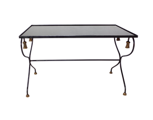 Black Glass and Metal Low Table