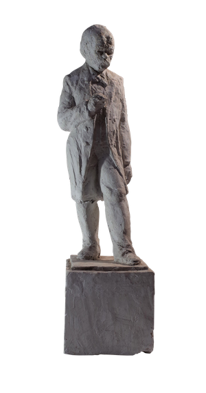 Plaster Figure of Distinguished Man in Overcoat