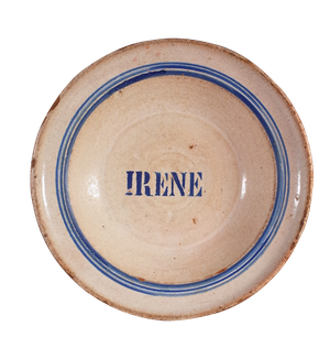 Stoneware Glazed Bowl with Name of Irene