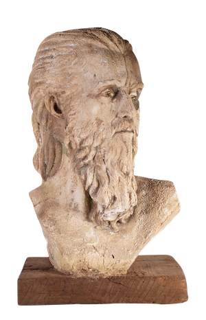 Weathered Plaster and Composite Contemporary Bust of Male on Walnut Base