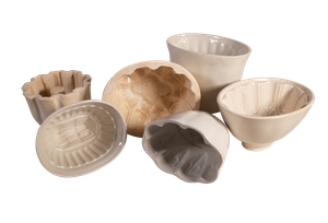 Six Victorian Ironstone Jelly Moulds