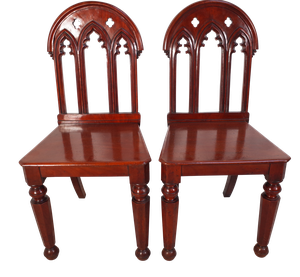 Pair of Mahogany Gothic Revival Hall Chairs
