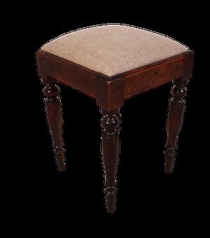Small Square Mahogany Stool with Upholstered Pad