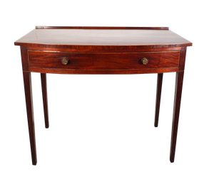 George III Mahogany Bow Fronted Writing Table with Yew and Ebony Line Inlay