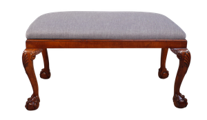 Upholstered Walnut Stool on Cabriole Legs with Ball and Claw Feet
