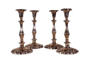 Four Old Sheffield Plate Candlesticks