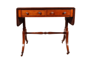 Mahogany Drop Ended Sofa Table with Two Drawers