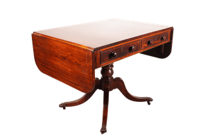 Flame Mahogany Drop Ended Sofa Table with Cross Banded Top