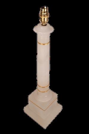Alabaster Column Lamp with Ormolu Banding