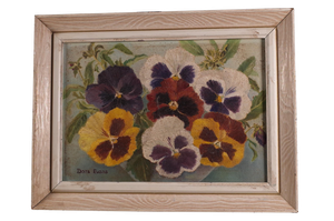 Oil on Board of Pansies