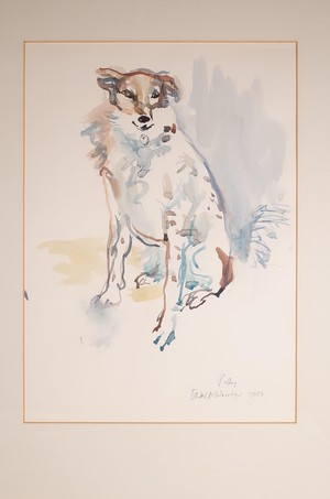 Watercolour of Polly the Dog Seated by Isabel McWhirker