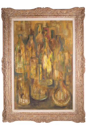 Abstract Oil on Board Still Life of Illuminated Bottles signed Nicholas Clive