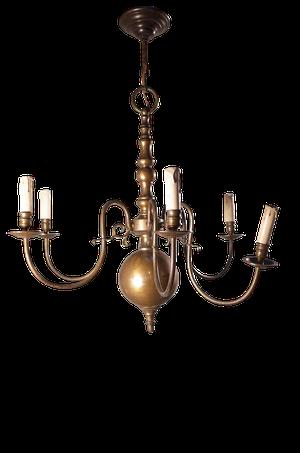 Six Branch Dutch Brass Chandelier
