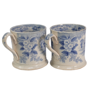 Two Blue and White Cups