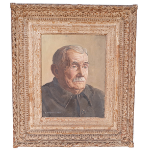 Oil on Canvas Male Portrait in Carved Painted Frame