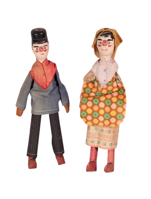 Pair of Painted Folk Pegged Dolls in Costume