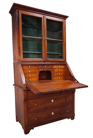 Empire Fruitwood Bureau and Upper Glazed Bookcase Section with Original Painted Interior