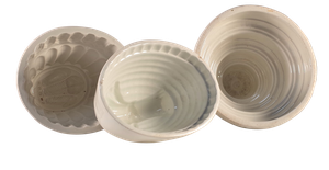 Three Victorian Ironstone Jelly Moulds
