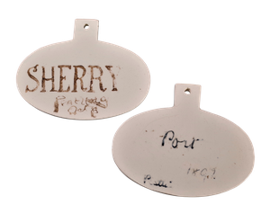 Ceramic Bin Labels 'Port' & 'Sherry'