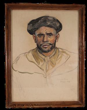Framed Acrylic Unfinished Portrait of Moorish Male, signed Maurice Leon