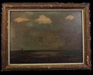 Oil on Board of Stormy Seascape