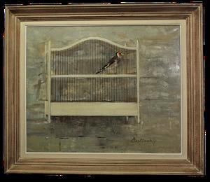 """Oil of Bird in Cage """"Le Prisonnier"""""""