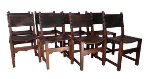 Set of Eight Stained Beech and Leather Dining Chairs