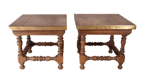 Pair of Turned Walnut Low Tables with Brass Tops