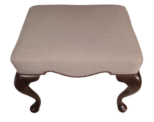 Upholstered Mahognay Footstool on Cabriole Legs