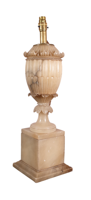 Carved Baluster Alabaster Table Lamp