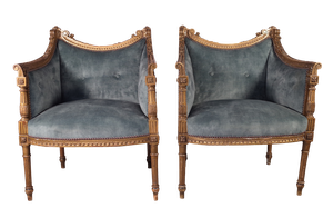 Pair of Buttoned Louis XVI Style Carved Gilt Bergeres