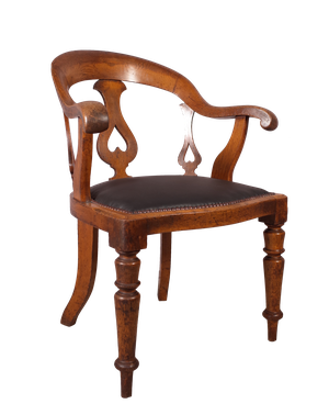 Desk Chair with Leather Upholstered Seat