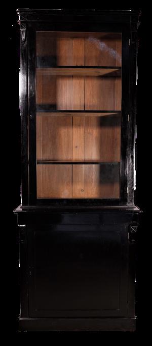 Ebonised Two Part Glazed Cabinet