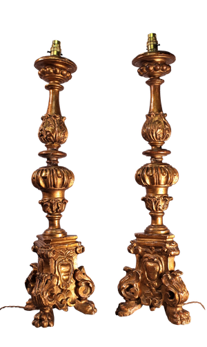 Pair of Carved Giltwood Pricket Table Lamps