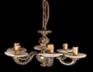 Bronze Six Arm Chandelier with Alabaster Drip Trays