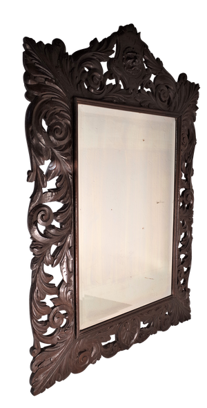 Large Carved Oak Foliage Mirror with Bevelled Plate