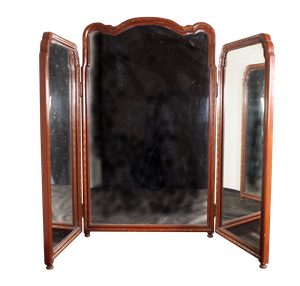 Chinoiserie Triptych Dressing Mirror with Original Silk Damask Backing