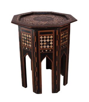 Syrian Mother of Pearl and Ebony Inlaid Hexagonal Table