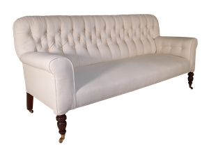 Button Back Sofa on Turned Mahogany Legs