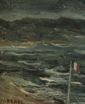 Oil on Canvas of Seascape with French Flag Signed Cabanes