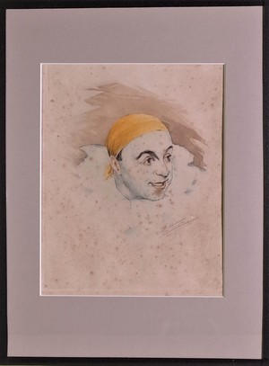 Set of Hand Coloured Signed and Numbered Pierrot Self Portraits by Arm Henrion