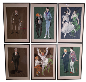 Set of Six Gouache on Paper Theatre Designs by Tom Davison RA