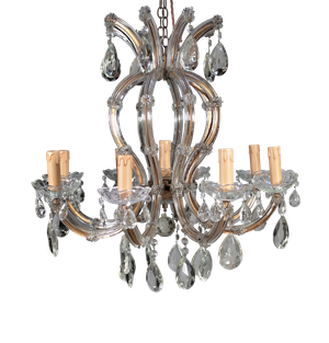 Eight Branch Glass Chandelier