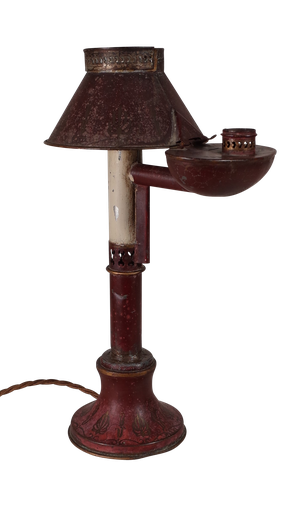 Antique Tole Coverted Oil Lamp