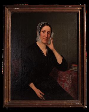 Late Georgian Oil on Canvas Female Seated Portrait