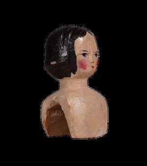 Georgian Painted Wooden Doll Head